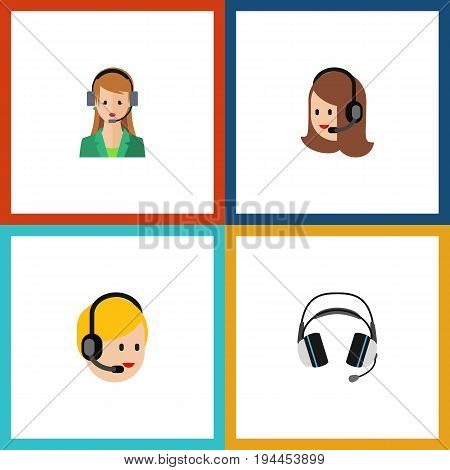 Flat Icon Telemarketing Set Of Earphone, Call Center, Secretary And Other Vector Objects. Also Includes Headset, Hotline, Center Elements.