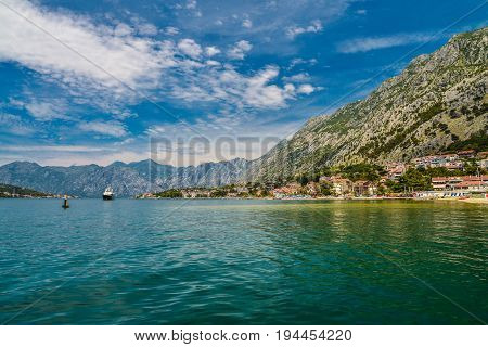 View of Bay of Kotor near Dobrota village in summer day Montenegro