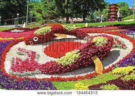 KYIV, UKRAINE - JUNE 10, 2017: Flower exhibition