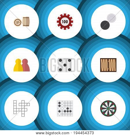 Flat Icon Games Set Of Chequer, Backgammon, Lottery And Other Vector Objects. Also Includes Arrow, Lottery, Dice Elements.