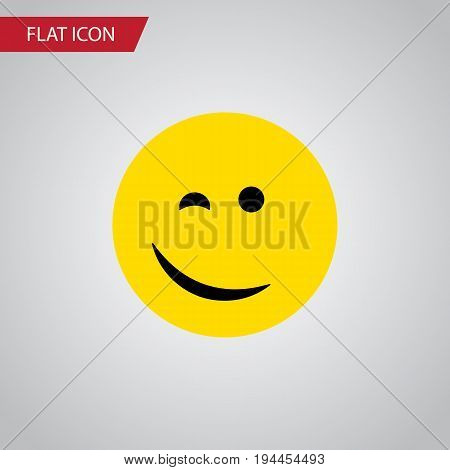 Isolated Happy Flat Icon. Winking Vector Element Can Be Used For Happy, Winking, Face Design Concept.