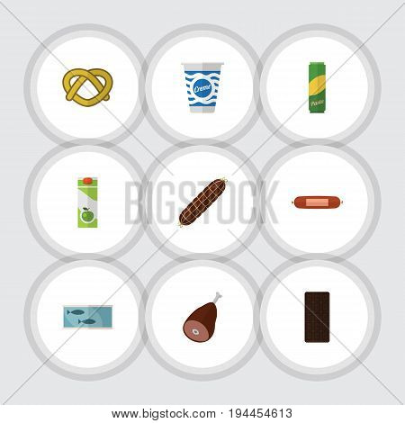 Flat Icon Meal Set Of Smoked Sausage, Kielbasa, Confection And Other Vector Objects. Also Includes Apple, Ham, Yogurt Elements.