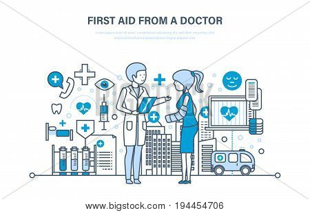 First aid from a doctor, modern medicine, medical care, healthcare and insurance, protect, guarantee safety patients, ambulance. Illustration thin line design of vector doodles, infographics elements.