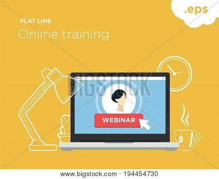 Online flat-line training. Illustration for online training webinar