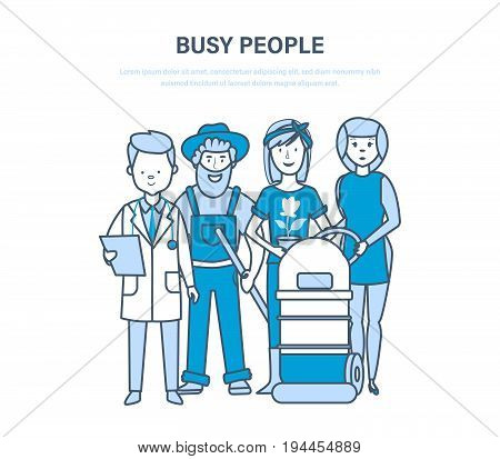 Busy people, employees, staff, clerk, different professions and specialties, medical doctor, farmers, gardener, hotel worker. Illustration thin line design of vector doodles infographics elements