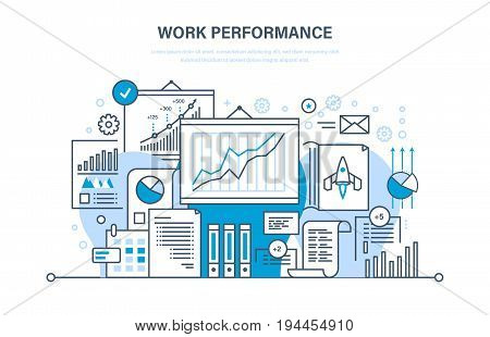Work performance, quality control, productive, workplace, teamwork, performance evaluation, analysis of results, planning, start up, success business Illustration thin line design of vector doodles