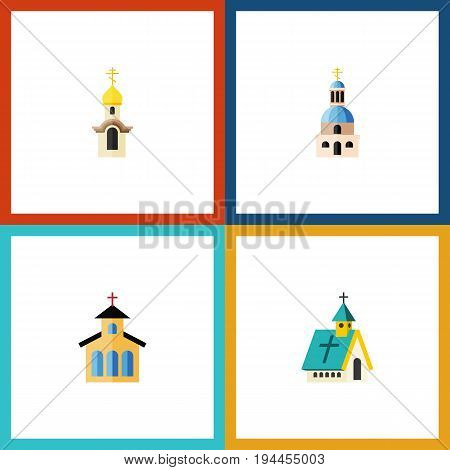 Flat Icon Church Set Of Church, Structure, Catholic And Other Vector Objects. Also Includes Structure, Catholic, Religious Elements.