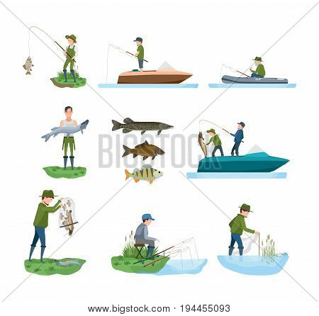 Fisherman's set on fishing in different situations. Fisherman catches fish from shore, on boat, shows catch, types of fish, joint fishing, outdoor recreation. Illustration isolated in cartoon style.