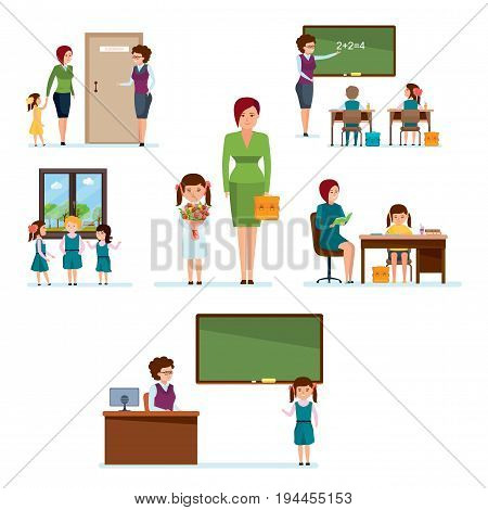 Modern education. School, full cycle of learning process from admission to school before meeting with classmates, homework, Iessons in classroom, knowledge Illustration isolated in cartoon style.