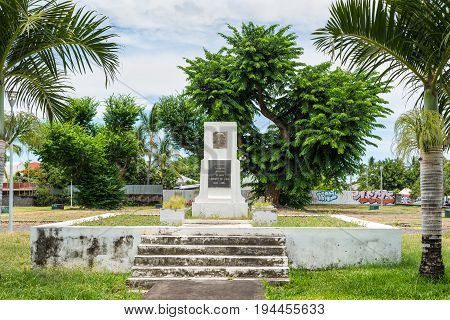 Saint-Paul Reunion Island France - December 24 2015: Monument to Leconte de Lisle in Saint Paul on Reunion island France. Charles Marie Rene Leconte de Lisle was a French poet of the Parnassian movement. He is traditionally known by his surname only Lecon