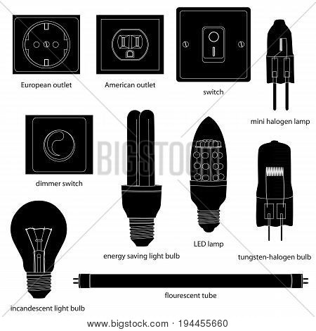 Different kinds of outlets, lamps, switches with names, silhouettes. Vector illustration.