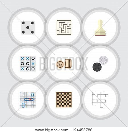 Flat Icon Entertainment Set Of Chequer, Chess Table, Lottery And Other Vector Objects. Also Includes Backgammon, Tac, Lottery Elements.