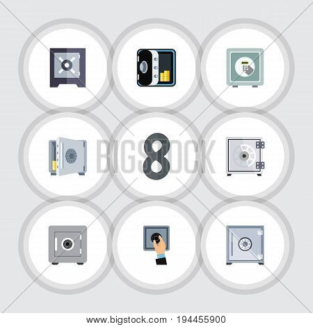 Flat Icon Safe Set Of Protection, Safe, Security And Other Vector Objects. Also Includes Strongbox, Unlock, Closed Elements.