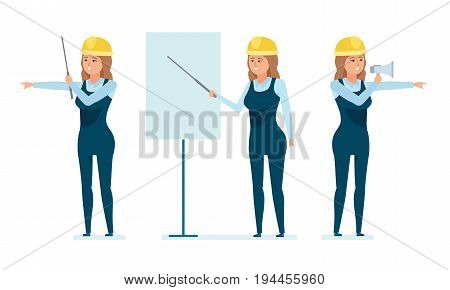 Chief engineer woman character set. Woman architect worker teaches staff, explains material at conference, monitors project, manages personnel and construction process. Cartoon illustration isolated.