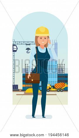 Chief engineer woman character set. Woman architect worker in working clothes, talks on phone, solves questions on progress of construction with customers and suppliers. Cartoon illustration isolated.