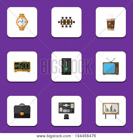 Flat Icon Oneday Set Of Briefcase, Television, Bureau And Other Vector Objects. Also Includes Alarm, Timer, Coffee Elements.