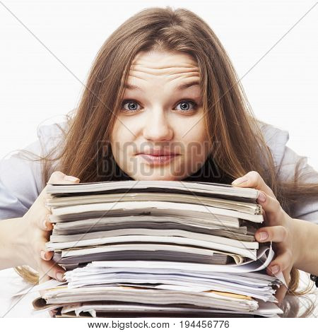 business woman working with documents in the workplace (Success job work prospects concept)