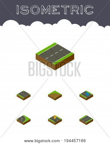 Isometric Road Set Of Navigation, Sand, Plash Vector Objects. Also Includes Location, Plash, Puddle Elements.