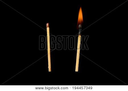 Hot and unresolved matches on a black background