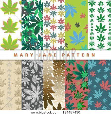 Ganja marijuana seamless pattern on colorful backgrounds. Cannabis colorful leafs seamless wallpaper. Vector illustration art.