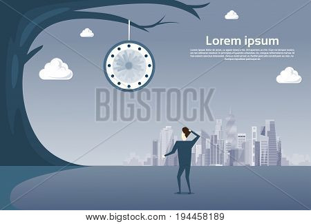 Business Man Looking At Clock Hanging On Tree Over Modern City View Time Management Deadline Concept Vector Illustration