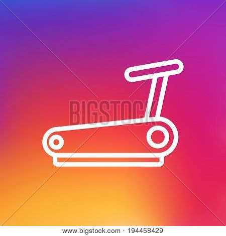 Isolated Treadmill Outline Symbol On Clean Background. Vector Running Track Element In Trendy Style.