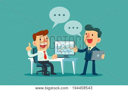 two businessmen discussing business strategy at office desk. Boss and employee working together.