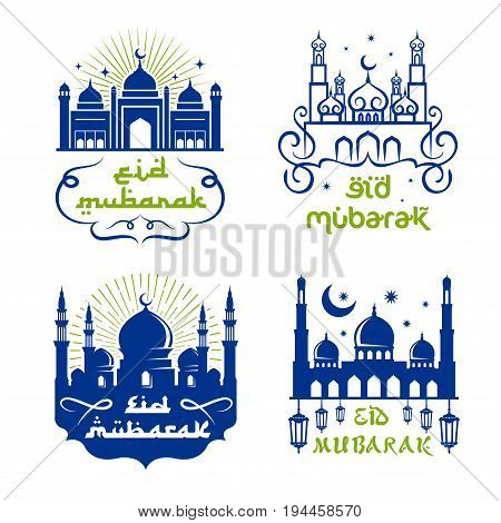 Ramadan Kareem and Eid Mubarak symbol set. Muslim mosque with minaret, Ramadan lantern, crescent moon and star, adorned by arabic ornament for holy month Ramadan celebration greeting card design