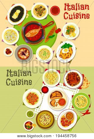 Italian cuisine lunch icon set of pasta dishes with seafood, meat and pesto sauce, chicken spaghetti with cheese, seafood risotto, vegetable beef salad, meat bread, fish in tomato sauce, octopus stew