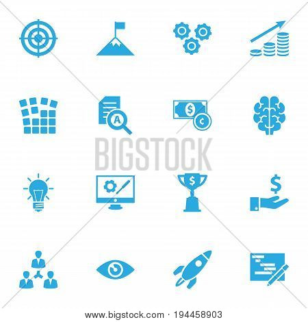 Set Of 16 Strategy Icons Set.Collection Of Goal, Gear, Unity And Other Elements.