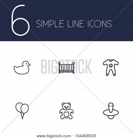 Set Of 6 Child Outline Icons Set.Collection Of Nipple, Smock, Rubber And Other Elements.