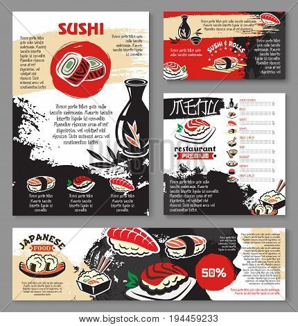 Japanese seafood restaurant poster and banner template design. Sushi and asian food menu card or flyer design with sushi roll with fish and shrimp, fried seafood rice, noodle soup, tea and sake drink
