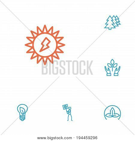 Set Of 6 Ecology Outline Icons Set.Collection Of Charge, Afforestation, Nature And Other Elements.