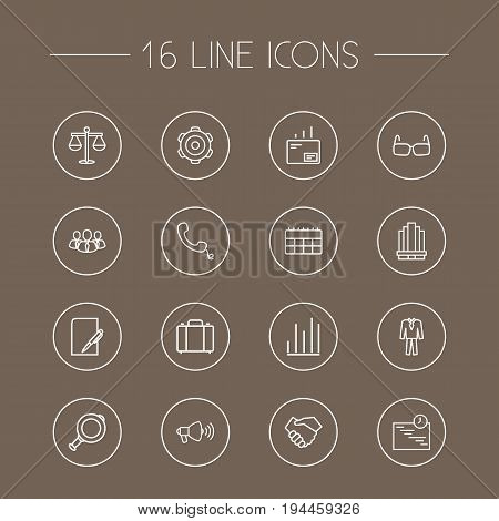 Set Of 16 Management Outline Icons Set.Collection Of Handset, Scales, Handshake Elements.