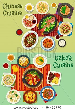 Chinese and uzbek cuisine dinner icon set. Meat dumpling, kebab, noodle with ham, rich meat soup with noodle and vegetable, peking duck salad, chilli shrimp, fish, meat veggies stew and fruit dessert