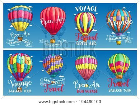 Hot air balloon flying in blue sky sketch banner set. Air balloon with wicker basket and colorful envelope parachute with vintage ribbon banner for travel, ballooning and outdoor adventure design