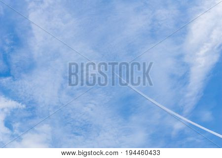 View on beautiful white clouds in a blue sky. Clouds and Skies in the Morning. The Sun behind Clouds. Fresh Air. Cloudy Weather. Cloud Formations. White Clouds