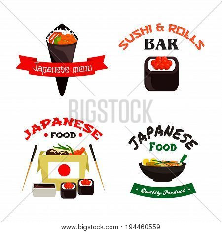 Japanese and asian food isolated icon set. Sushi roll and temaki sushi with rice, fish, seafood noodle in takeaway paper box with chopsticks, soy sauce and shrimp soup for japanese cuisine design