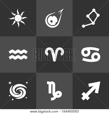 Set Of 9 Horoscope Icons Set.Collection Of Archer, Solar, Space And Other Elements.