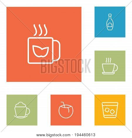 Set Of 6 Drinks Outline Icons Set.Collection Of Hot Drink, Whiskey, Champagne And Other Elements.