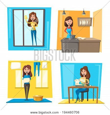 Household chores set with woman doing housework. Young housewife cooking dinner, cleaning window, hanging laundry and sewing clothes on machine. Housekeeping cartoon concept design