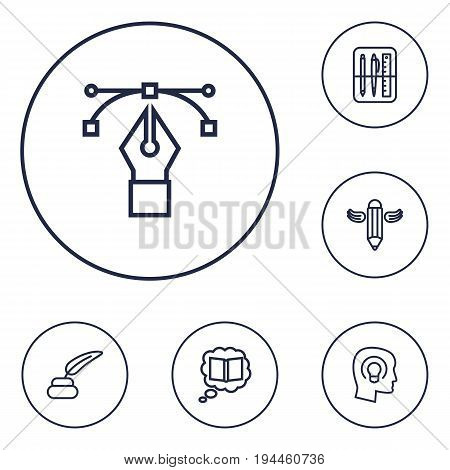 Set Of 6 Creative Outline Icons Set.Collection Of Inkwell With Pen, Writing, Bezier Curve And Other Elements.