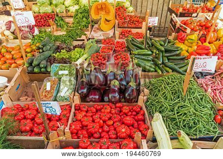 Great variety of vegetables for sale at a market