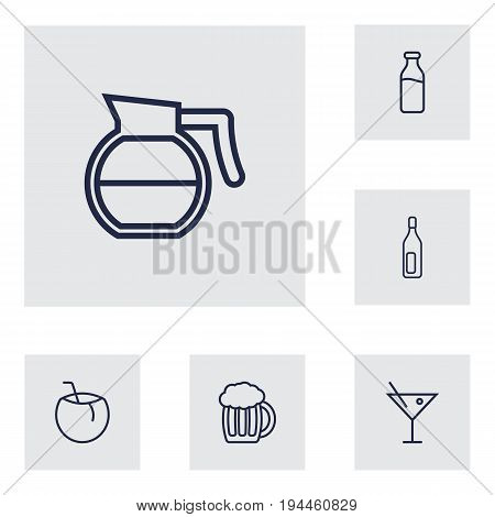 Set Of 6 Beverages Outline Icons Set.Collection Of Coffeepot, Dairy, Cocktail And Other Elements.