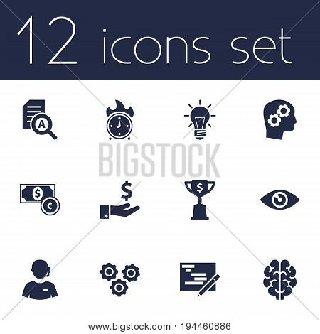 Set Of 12 Strategy Icons Set.Collection Of Call Center, Time In Fire, Gear And Other Elements.