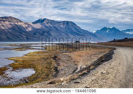 Campsite in Longyearbyen near the coast Svalbard