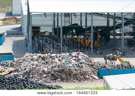 Urban landfill. Waste treatment plant depot. Waste disposal, management, reuse, recycle and recovery concept