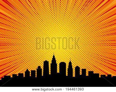 Big city skyline cartoon book style background