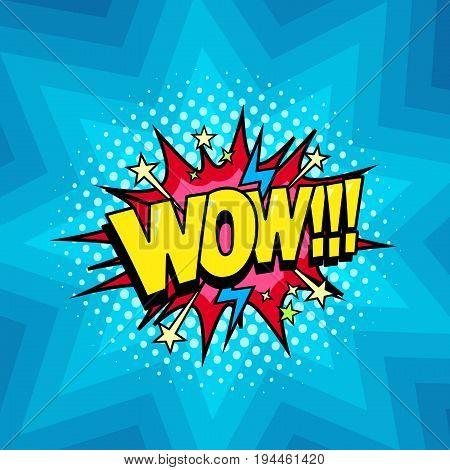 Surprised Wow shout, comic cartoon style bubbles, superhero expression speech