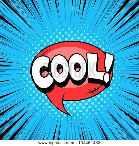 Cool word, comic cartoon style bubbles, superhero expression speech